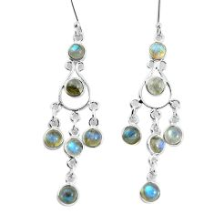 12.36cts natural blue labradorite 925 sterling silver dangle earrings p60598