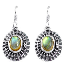 4.38cts natural blue labradorite 925 sterling silver dangle earrings p63916