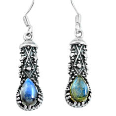 4.52cts natural blue labradorite 925 sterling silver dangle earrings p63921