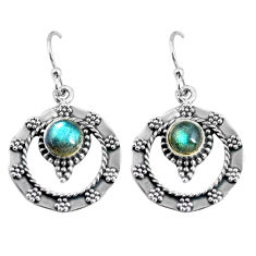 2.35cts natural blue labradorite 925 sterling silver dangle earrings p63925