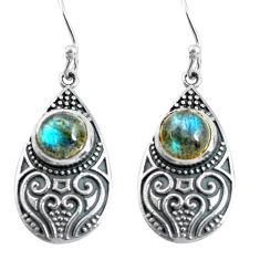 4.70cts natural blue labradorite 925 sterling silver dangle earrings p63928