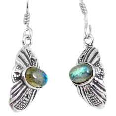 3.73cts natural blue labradorite 925 sterling silver dangle earrings p64022