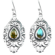 4.55cts natural blue labradorite 925 sterling silver dangle earrings p64910