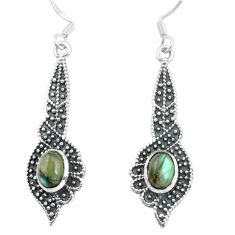 3.53cts natural blue labradorite 925 sterling silver dangle earrings p65016