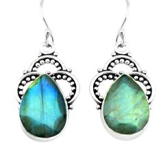12.06cts natural blue labradorite 925 sterling silver dangle earrings p66481