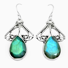 12.96cts natural blue labradorite 925 sterling silver dangle earrings p66483