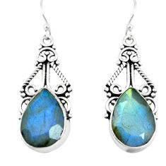 13.27cts natural blue labradorite 925 sterling silver dangle earrings p66486
