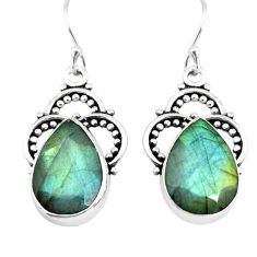 14.67cts natural blue labradorite 925 sterling silver dangle earrings p66488