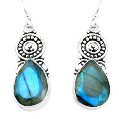 11.66cts natural blue labradorite 925 sterling silver dangle earrings p66492