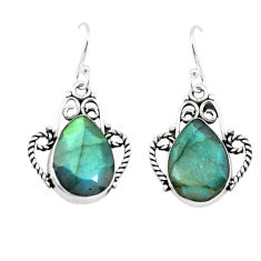 11.54cts natural blue labradorite 925 sterling silver dangle earrings p66494