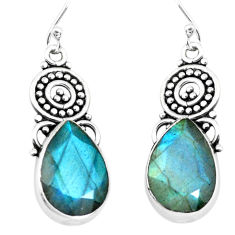 11.66cts natural blue labradorite 925 sterling silver dangle earrings p66497