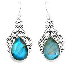 14.12cts natural blue labradorite 925 sterling silver dangle earrings p66498