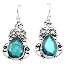 12.04cts natural blue labradorite 925 sterling silver dangle earrings p70362