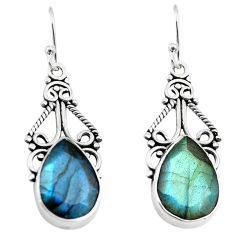 11.46cts natural blue labradorite 925 sterling silver dangle earrings p70369