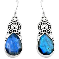 12.07cts natural blue labradorite 925 sterling silver dangle earrings p70378
