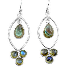 9.85cts natural blue labradorite 925 sterling silver dangle earrings p77456
