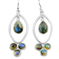 10.22cts natural blue labradorite 925 sterling silver dangle earrings p77457