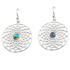 1.91cts natural blue labradorite 925 sterling silver dangle earrings p77530