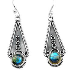 3.32cts natural blue labradorite 925 sterling silver dangle earrings p81323