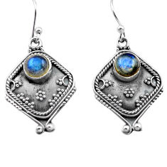 2.83cts natural blue labradorite 925 sterling silver dangle earrings p81335