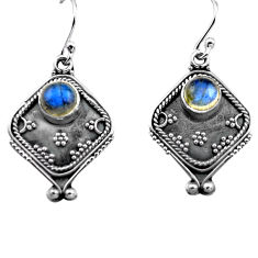 2.81cts natural blue labradorite 925 sterling silver dangle earrings p81336