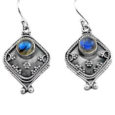 2.89cts natural blue labradorite 925 sterling silver dangle earrings p81338