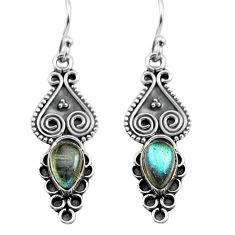 3.13cts natural blue labradorite 925 sterling silver dangle earrings p81345