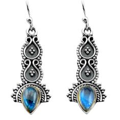 3.13cts natural blue labradorite 925 sterling silver dangle earrings p81349