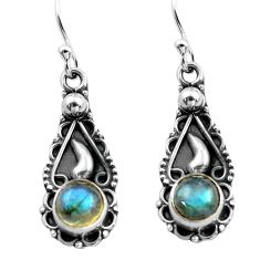 2.93cts natural blue labradorite 925 sterling silver dangle earrings p81363