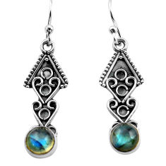2.92cts natural blue labradorite 925 sterling silver dangle earrings p81368
