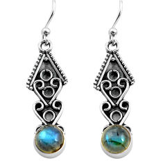 2.92cts natural blue labradorite 925 sterling silver dangle earrings p81369