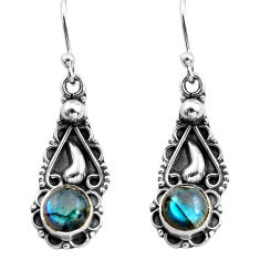 2.72cts natural blue labradorite 925 sterling silver dangle earrings p81371