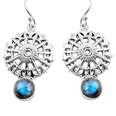 5.27cts natural blue labradorite 925 sterling silver dangle earrings p84917