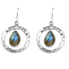 6.58cts natural blue labradorite 925 sterling silver dangle earrings p85620