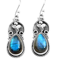 9.72cts natural blue labradorite 925 sterling silver dangle earrings p85657