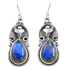 9.73cts natural blue labradorite 925 sterling silver dangle earrings p85658