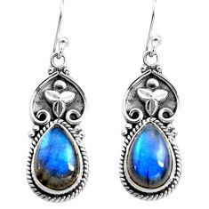 9.39cts natural blue labradorite 925 sterling silver dangle earrings p85659
