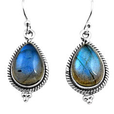 10.37cts natural blue labradorite 925 sterling silver dangle earrings p86968