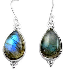 9.98cts natural blue labradorite 925 sterling silver dangle earrings p86972
