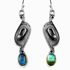 3.06cts natural blue labradorite 925 sterling silver dangle earrings p87567