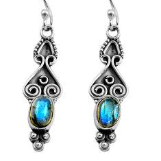 2.92cts natural blue labradorite 925 sterling silver dangle earrings p87569