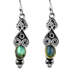 2.92cts natural blue labradorite 925 sterling silver dangle earrings p87570