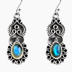 3.29cts natural blue labradorite 925 sterling silver dangle earrings p87571