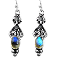 2.90cts natural blue labradorite 925 sterling silver dangle earrings p87585