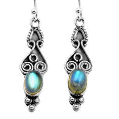 2.92cts natural blue labradorite 925 sterling silver dangle earrings p87586