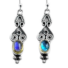 2.92cts natural blue labradorite 925 sterling silver dangle earrings p87587
