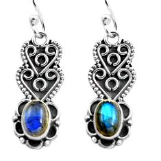 3.06cts natural blue labradorite 925 sterling silver dangle earrings p87589