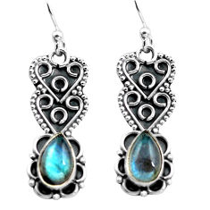 3.51cts natural blue labradorite 925 sterling silver dangle earrings p87596