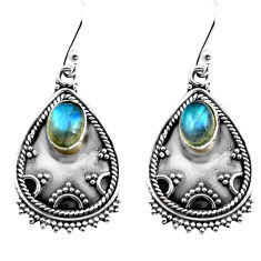 3.22cts natural blue labradorite 925 sterling silver dangle earrings p87597