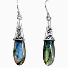 16.98cts natural blue labradorite 925 sterling silver dangle earrings p89703